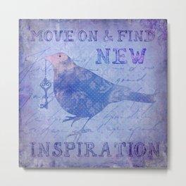 Bird collage inspirational Quote Metal Print