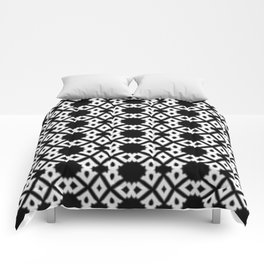 Repeating Circles Black and White Comforters