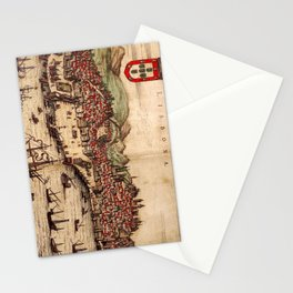 Vintage Pictorial Map of Lisbon Portugal (1572) Stationery Cards
