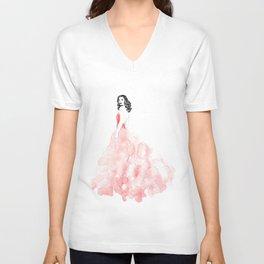 Fashion illustration pink long gown Unisex V-Neck