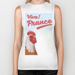 France Rooster travel poster Biker Tank