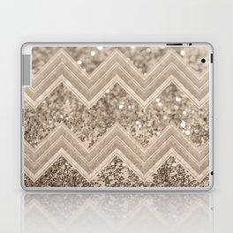 Sepia Glitter Chevron #1 #shiny #decor #art #society6 Laptop & iPad Skin