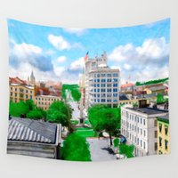 allyson johnson Wall Tapestries featuring Historic Savannah - Vintage View Over Johnson Square by Mark E Tisdale
