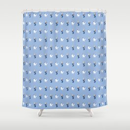 Boy with Guitar and Singing white Dog, blue,  boys and Girls Shower Curtain