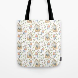 birdhouses, birds, hearts and flowers Tote Bag