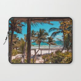 Cabana view of the Beach (Color) Laptop Sleeve