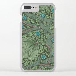 William Morris Art Nouveau Forget Me Not Floral Clear iPhone Case