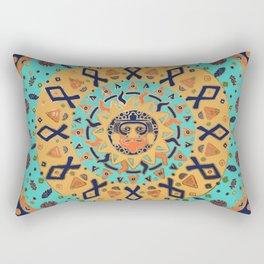 Aztec Sun and Glyphs Rectangular Pillow
