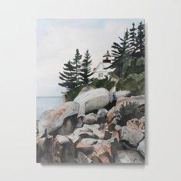 Maine Watercolor Painting Metal Print