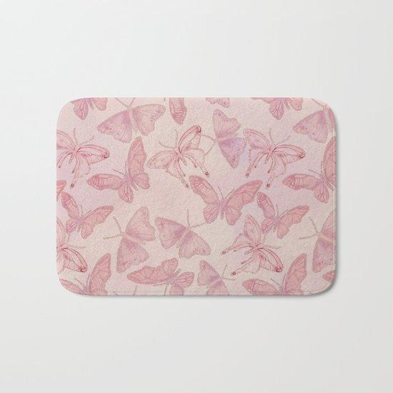 Butterfly Pattern soft pink pastel Bath Mat