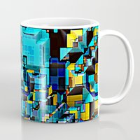 technology Mugs featuring Blue Technology Abstract by Phil Perkins
