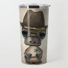 Cute Baby Platypus Sheriff Travel Mug