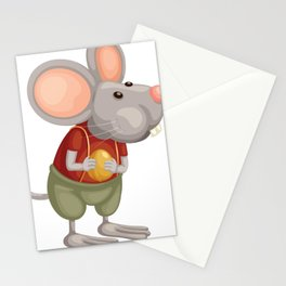 Illustration of Cute Cartoon Mouse Stationery Cards