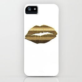 Gold Lipstick Kiss Lip Art iPhone Case
