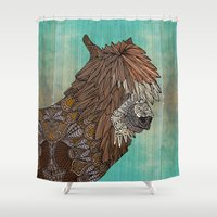 llama Shower Curtains featuring Ornate Llama by ArtLovePassion