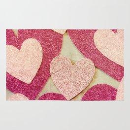 Vintage Pink Glitter Hearts Rug