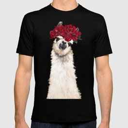 Sexy Llama with Roses Crown T-shirt