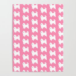 Westies Pink Pattern Poster