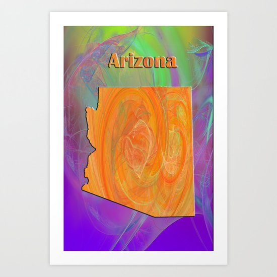 Arizona Map Art Print