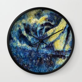 Rose in the Night. Blue. Painting Wall Clock