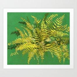Golden Fern, Floral Painting Green Yellow  Kunstdrucke