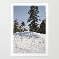 snowboarding Art Prints featuring Snowboarding by Monica Cadena