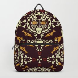 pattern with Tribal mask ethnic on dark Backpack