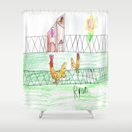 Farmer Pickle's Chickens Shower Curtain