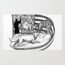 Sheepdog Protect Lamb from Wolf Tattoo Rug