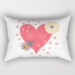 Bee Mine Valentine Heart with Bees and Flowers Rectangular Pillow