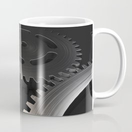 Set of metal gears and cogs on black Coffee Mug