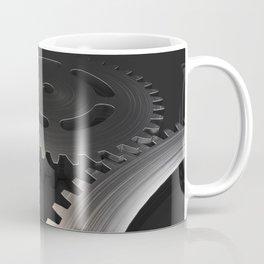 Set of metal gears and cogs on black Coffee Mug