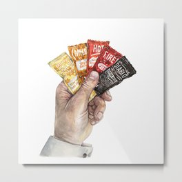 Hot Sauce Poker Hand - Taco Sauce Packets Metal Print