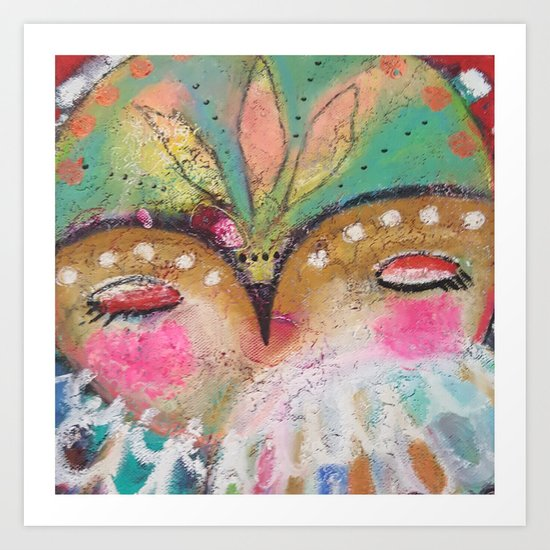 Owl dreaming Art Print