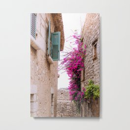 French alley full of flowers   European architecture houses, light bricks and blue shutters   Travel photography in France, South Europe Metal Print
