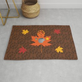 Grey Squirrel Autumn Pattern Rug