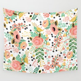 Autumn Floral Pattern Wall Tapestry