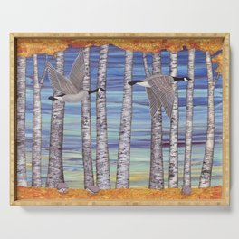 Canada geese, hedgehogs, and autumn birch trees Serving Tray