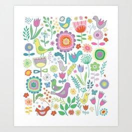 Birds & Blooms - on white Art Print