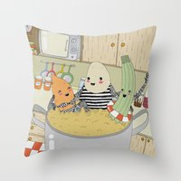 vegetable Throw Pillows featuring Vegetable Soup by yellow pony