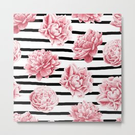 Simply Drawn Stripes and Roses Metal Print