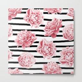 Simply Drawn Stripes and Roses Metal Print