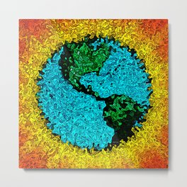 Abstract Planet Earth Pop Art Metal Print