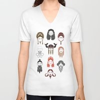 middle earth V-neck T-shirts featuring The Unwritten Lady Dwarves of Middle Earth by geeksweetie