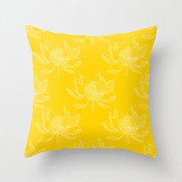 Lovely Modern Lotus Flowers on Sunny Yellow Background - Spring Summer Mood #decor #society6 #buyart Throw Pillow