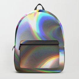Circular Hologram Glitch Foil Textures Backpack