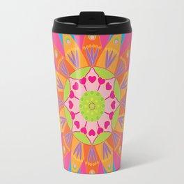Mandala fleur, orange Travel Mug