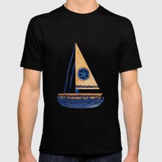 The Tribal Sailboat Mens Fitted Tee MEDIUM Black