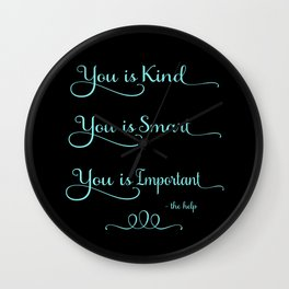 You is Kind - black and blue Wall Clock