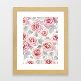 Mauve and Cream Painted Roses Framed Art Print
